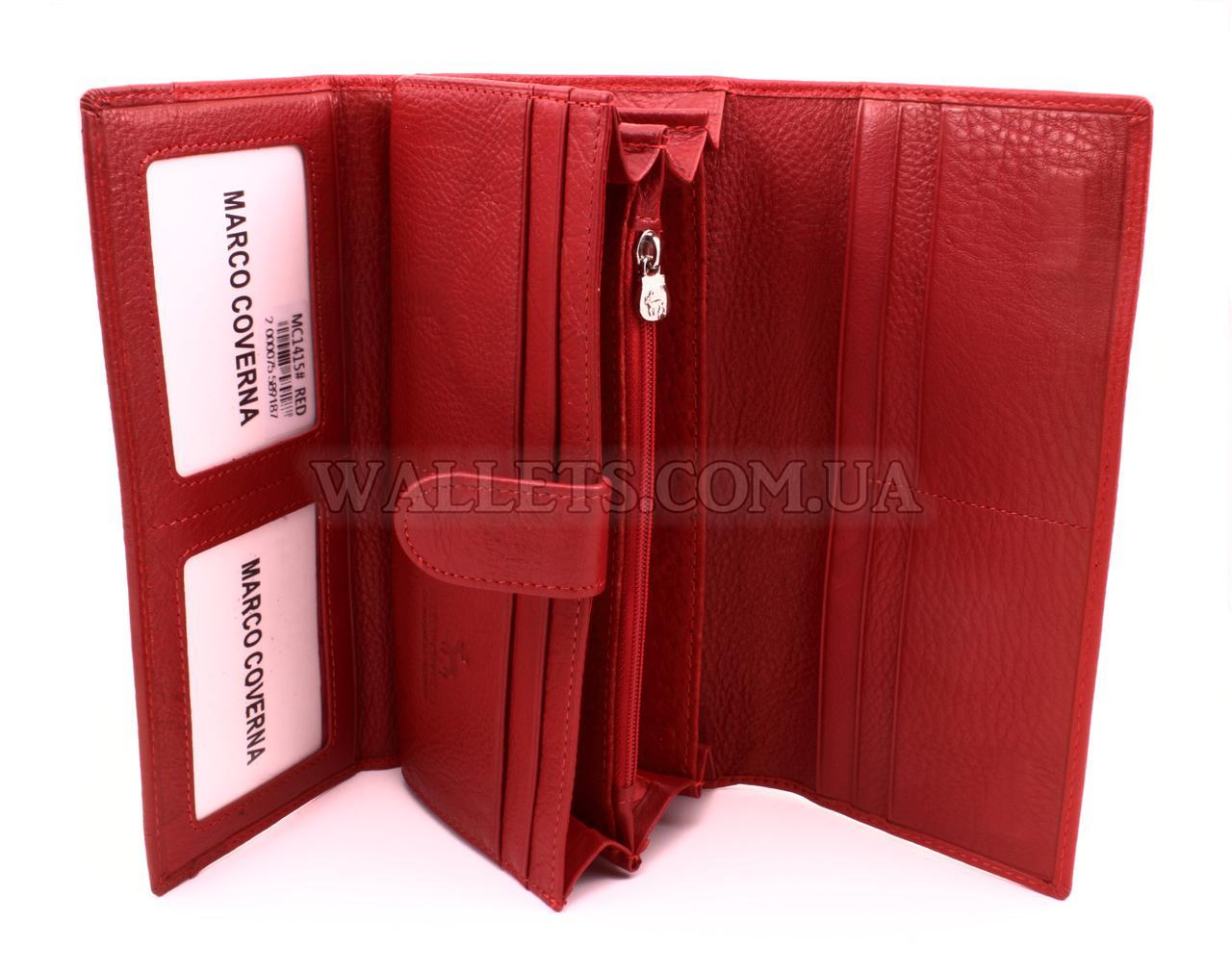 c090891dedbd Женский кожаный кошелек Marco Coverna с визитницей (MC1415) на магнитах,  красный - Интернет