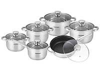 """Набор посуды """"ASTOR"""" 12 предметов, крышки из термостекла AST 1706SK"""