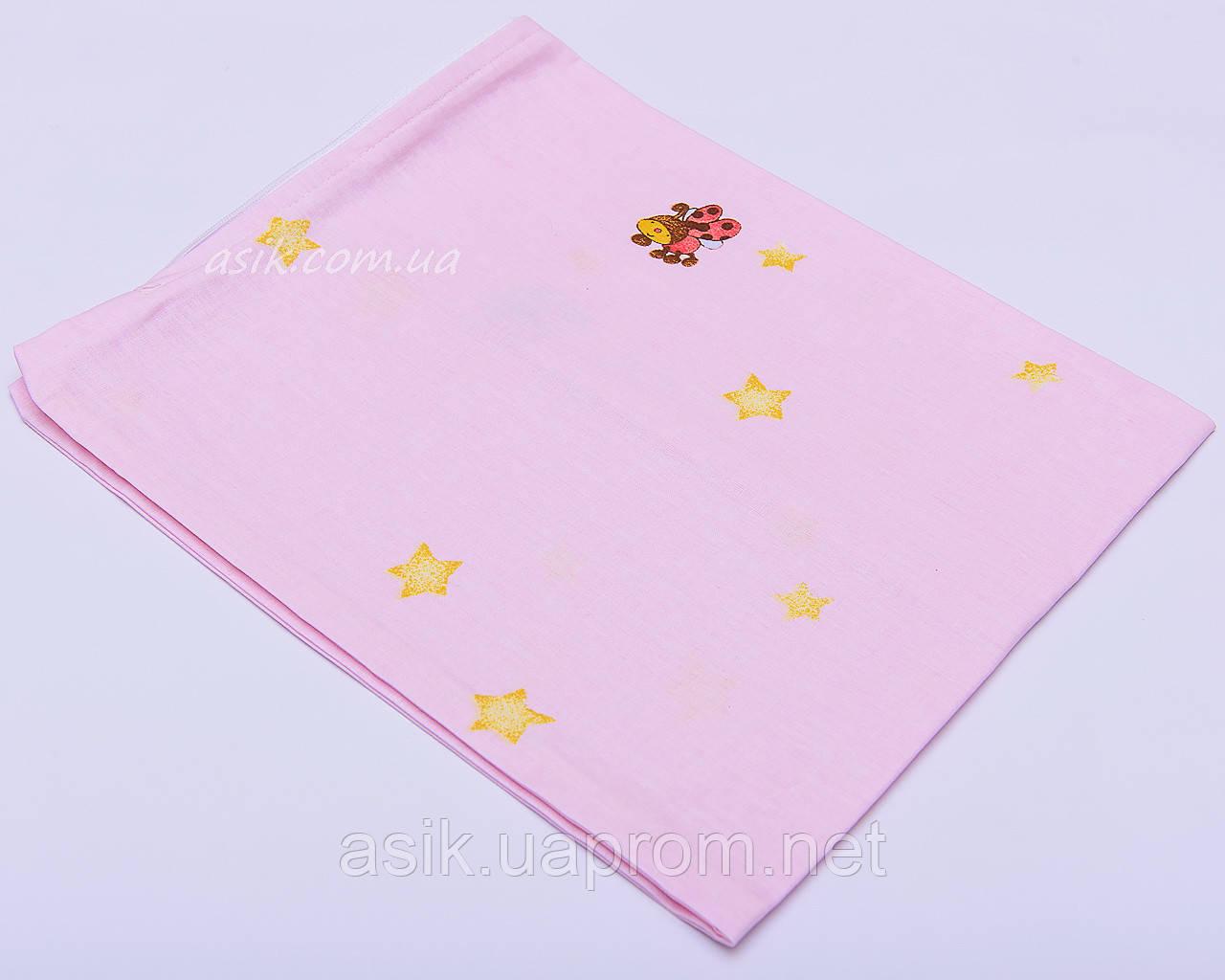 Наволочка детская 40*60 на молнии розового цвета