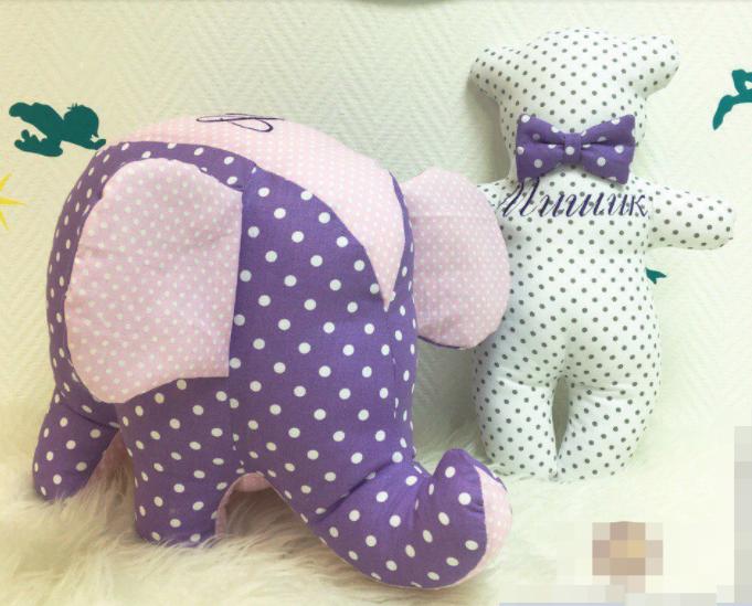 Именная подушка, слоник и мишка
