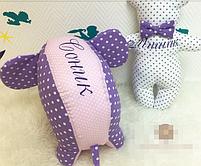 Именная подушка, слоник и мишка, фото 2