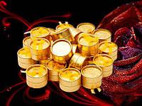 Коробочка подарочная золотистая круглая для колец и серёжек