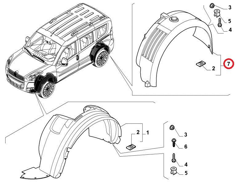Подкрылок задний правый Doblo 2009- , Арт. 51940063, 51940063, 52003848, FIAT