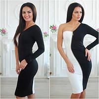 Платье с змейкой черно-белое 883299