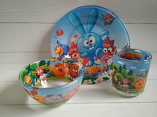 Детская посуда Смешарики из стекла, посуда для детского сада