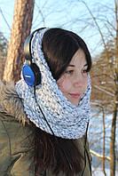 Вязаный шарф снуд труба ручная работа, шерстяной шарф хомут, объёмный шарф белый цвет