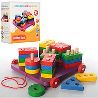 Деревянная игрушка геометрика BX-112, 28 фигур, игрушка-каталка, развивающая игрушка