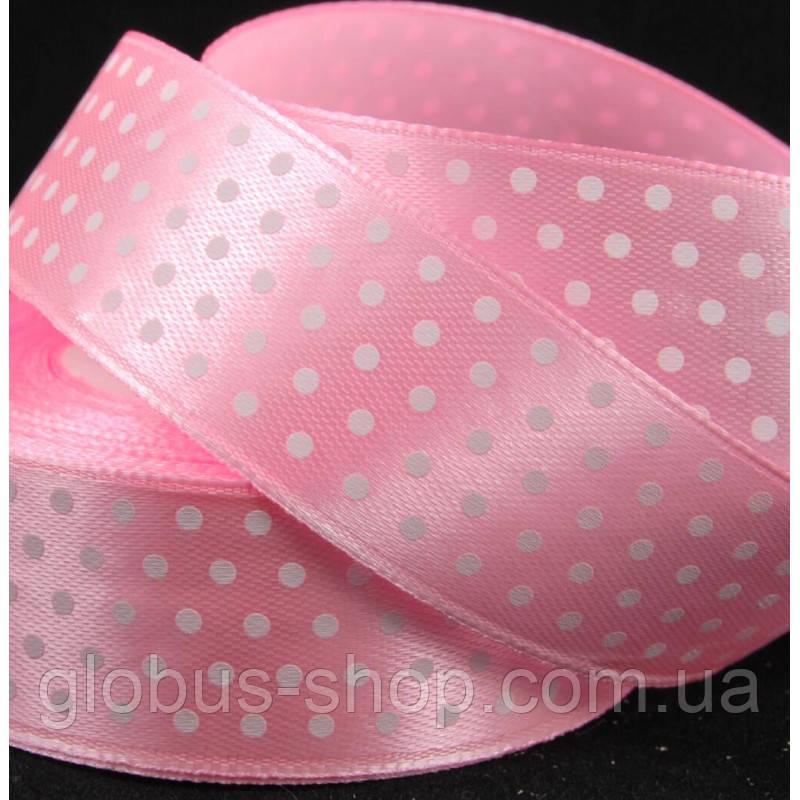 Атлас горох 2,5 см, цвет розовый