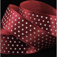 Атлас горох 2,5 см, цвет бордовый