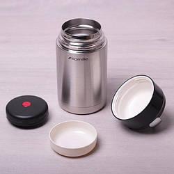 Термос для еды Kamille 1000 мл (держит до 10ч!), пищевой термос из нержавеющей стали для первых и вторых блюд