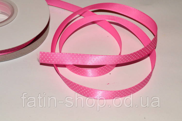 Атласна стрічка горох - Америка кол. Hot Pink