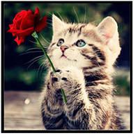 """Алмазная вышивка """"Котенок с розой"""" , фото 1"""