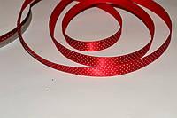 Атласная лента горох - Америка цв.Red