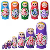 Деревянная игрушка Матрешка MD 1110, игрушка для детей из дерева, матрешки 7-8-8см