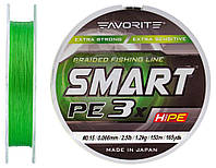 Шнур Favorite Smart PE 3x 150м (l.green) #0.15/0.066mm 2.5lb/1.2kg