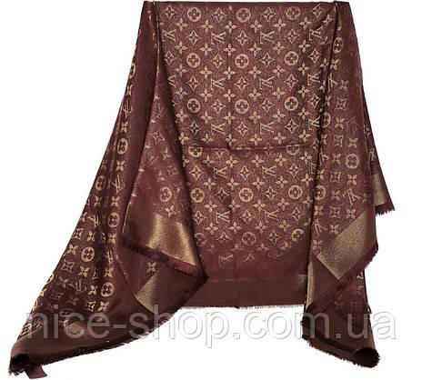 Палантин Louis Vuitton люрекс коричневый, фото 3