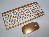 Комплект -тонкая беспроводная мини клавиатура сбеспроводноймышью908 в стиле Applewireless 2.4GHz