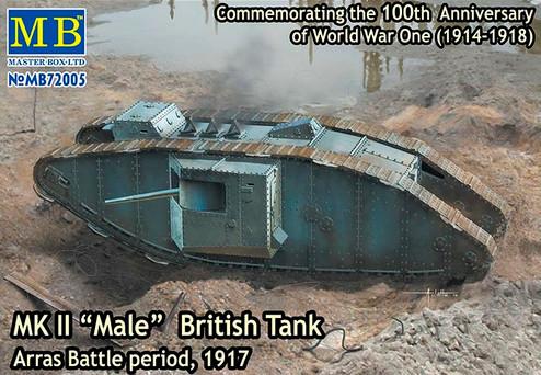 "Британский танк MK II ""Male"" British Tank, Arras Battle period, 1917. 1/72 MASTER BOX 72005"