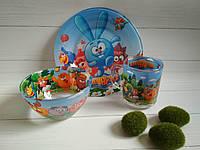 Стеклянная детская посуда Смешарики