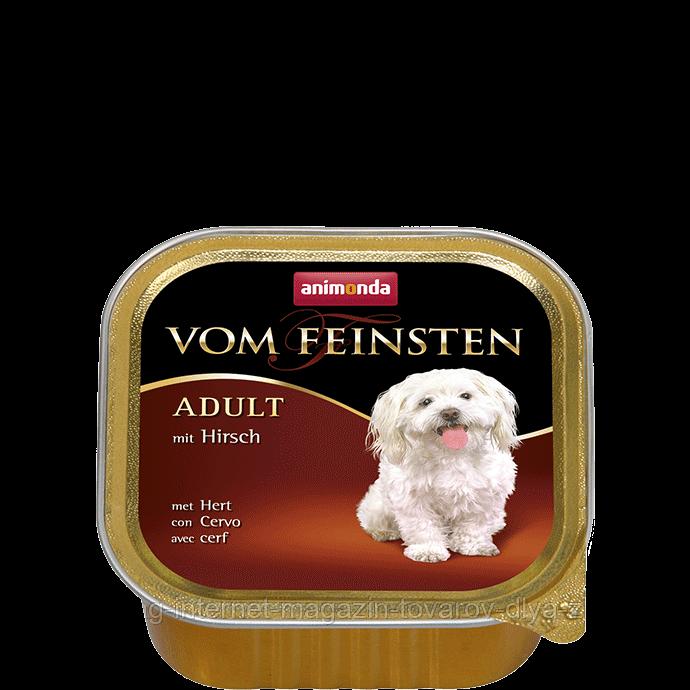 """Консервы Vom Feinsten """"С олениной"""" 10,5/4,5 (для взрослых собак), 150г"""