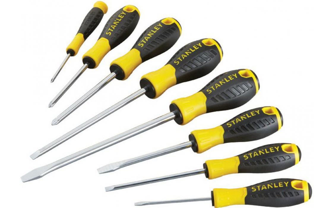 "Набор отверток STANLEY ""ESSENTIAL"", 8 штук: PH0 x 50 мм, PH1 x 75 мм, PH2 x 100 мм, Sl:3 x 75 мм, 4"