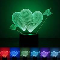 """3D светильник """"Два сердца со стрелой"""""""