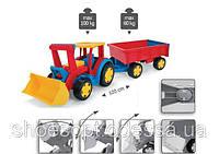 Детский большой Трактор Гигант с прицепом, подвижным ковшом, выдерживает 100кг
