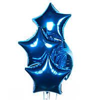Звезда синяя, шар фольгированный 44 см