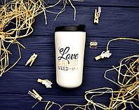 "Керамический стакан с крышкой ""Love is all you need"", 340 мл"