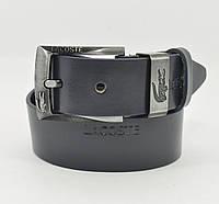 Кожаный ремень под джинсы Lacoste 8008-413 синий 40 мм, итальянская кожа