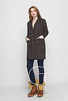 Женское демисезонное шерстяное пальто в крупную клетку (шоколад)
