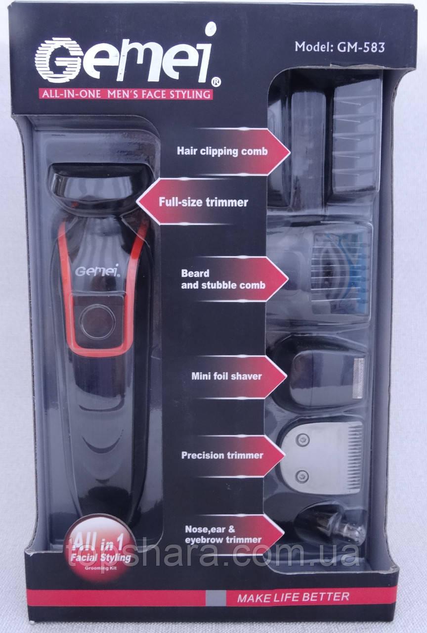 Багатофункціональний набір для стрижки волосся, чоловіча стрижка Gemei GM-583 6в1, тріммер