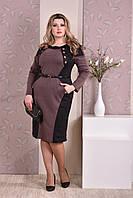 Коричневое с черным платье 0183-2