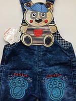 Комбинезон джинс на мальчика 0,5 года мишка, фото 1
