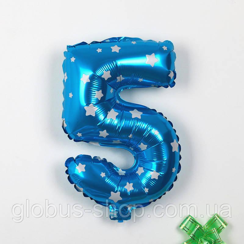 """Шар фольгированный синий  """"5"""", 70 см"""