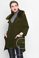 Красивое демисезонное женское пальто (изумруд)