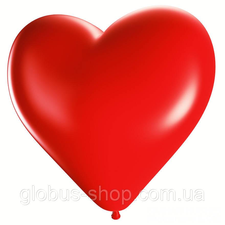 Шар воздушный сердце, 25 см, красный