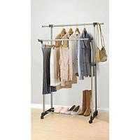 Вешалка стойка для одежды, двойная, хромированная