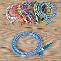 Аудио-кабель AUX 3.5 jack/M/M 1м (ткань)