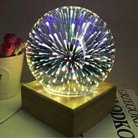Настольная лампа с деревянной основой Ball Shape Colorful 3D Fireworks