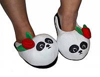 Тапки игрушки детские, подростковые Панда белая, размеры: 28, 38\39