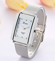 Наручные кварцевые женские часы с серебристым ремешком код 358