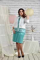 Бирюзовый костюм 0439-2 Жакет и платье