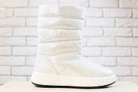 Женские ботинки, кожаные, зимние, на меху, белые с перламутром 39