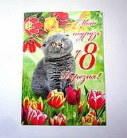 Открытка з 8 березня с котейкой
