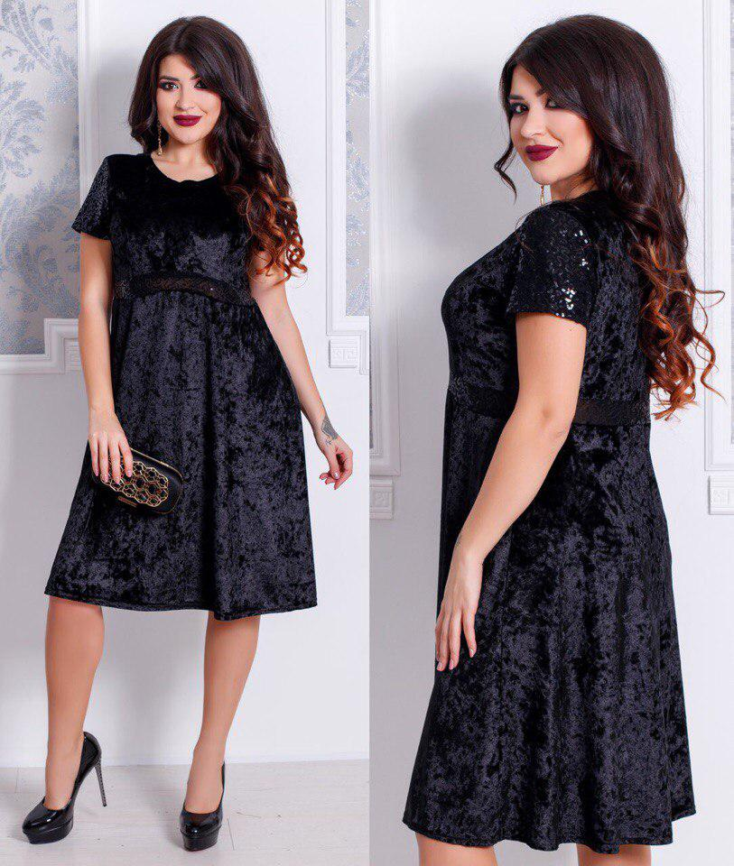 c63fb7718db Красивое нарядное женское бархатное в цветочный принт платье большого  размера с пайетками +цвета Черный