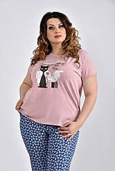 Светлая футболка с кошечкой 0536-3