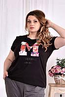 Черная футболка с надписью 0562-1 (турецкий трикотаж)
