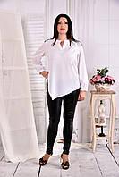 Белая свободная блузка-туника 0580-3 (на фото с брюками 011)
