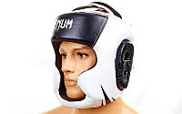 Шлем боксерский с полной защитой Кожа VENUM BO-5246-BK